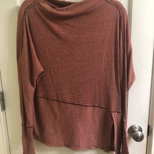 Mock neck burnt orange tunic sweater